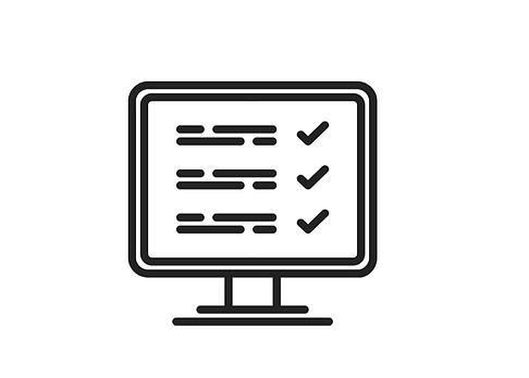 Computer screen checklist icon