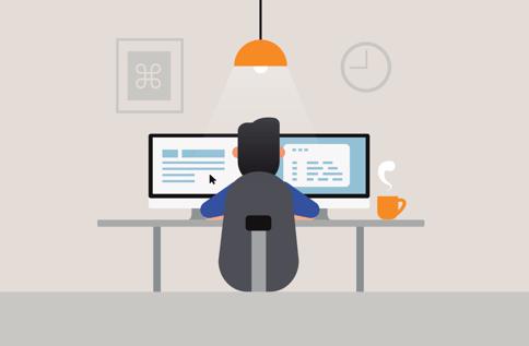 coder or developer at desk