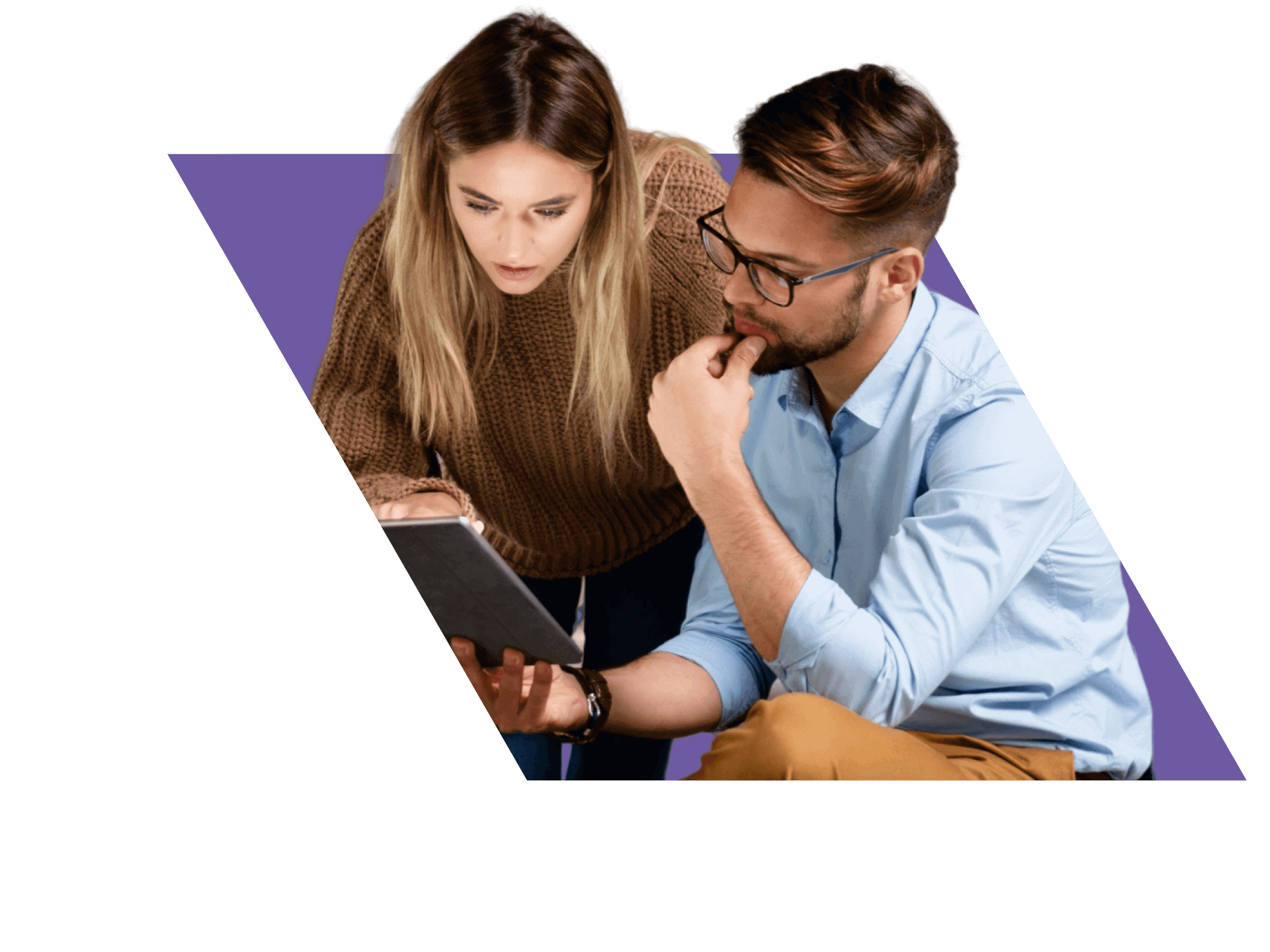 woman-and-man-reviewing-tablet-purple@2x